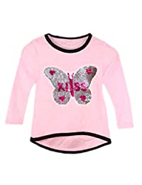 Kids Girls Changing Sequin Sizes Heart Butterfly Tops Brush Fluffy KISS 3-14 Years