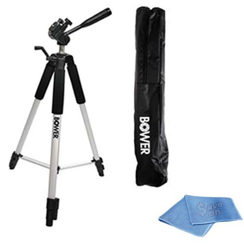 """SAVEoN Professional PRO 46"""" Super Strong Steady Lift Tripod With Deluxe Soft Carrying Case For The Sony HDR-CX500V, CX520V, CX550V, XR550V HD Handycam Camcorder + SAVEoN Micro Fiber Cleaning Cloth"""