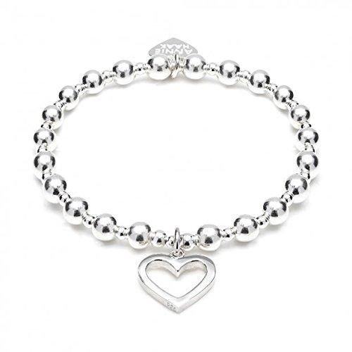ANNIE HAAK Orchid Silver Charm Bracelet avec charme design Open Heart, avec la main Argent 925 Perles