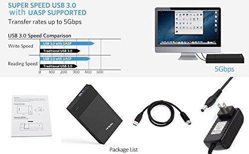 HotTopStar Hard Drive Enclosure USB 3.0 Hard Drive Disk External Enclosure Case for 3.5 inch SATA HDD and SSD Tool-free External Hard Drive Enclosure by HotTopStar (Image #6)