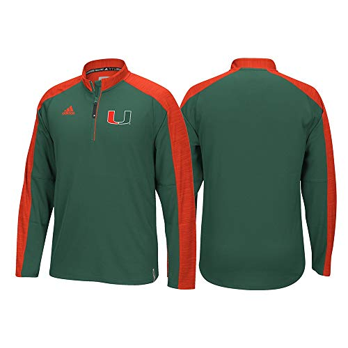 - adidas NCAA Men's Sideline Climalite 1/4 Zip Pullover-Miami Hurricanes-Large