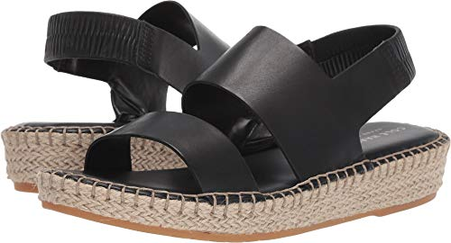 Cole Haan Women's Cloudfeel Espadrille Sandal Black Leather/Natural Jute/Gum 7 B US