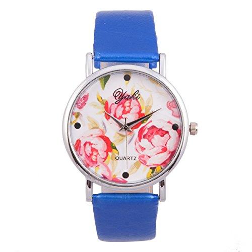 Yaki Vintage Damen Blumenmuster Gedruckt Quarz Uhr Kleid Freizeit Armbanduhr PU Lederband Blau