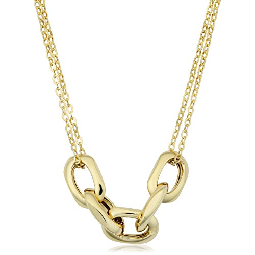 - Kooljewelry 14k Yellow Gold Oval Link Double Strand Chain Necklace (18 inch)