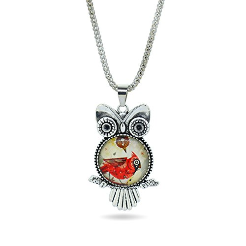 Drum Italian Charm (LIEBE ENGEL fashion Owl pendant necklace newest glass cabochon necklace in jewelry vintage silver color statement chain necklace)