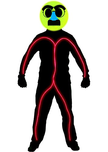 GlowCity Light Up Disguised Emoji Stick Figure Costume For Parties & Halloween (Large 6 Ft + Tall, Red) -