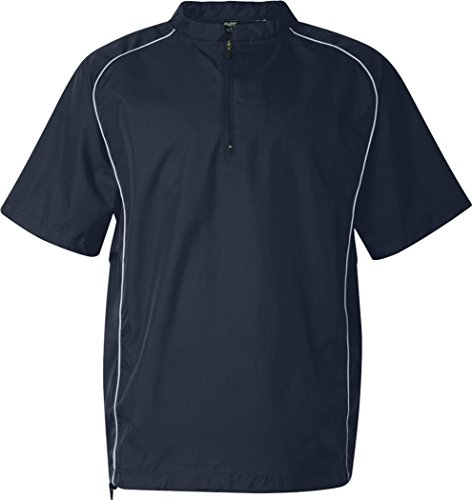 Rawlings Adult Quarter-Zip Short Sleeve Dobby Jacket With Piping (Navy) (2X)