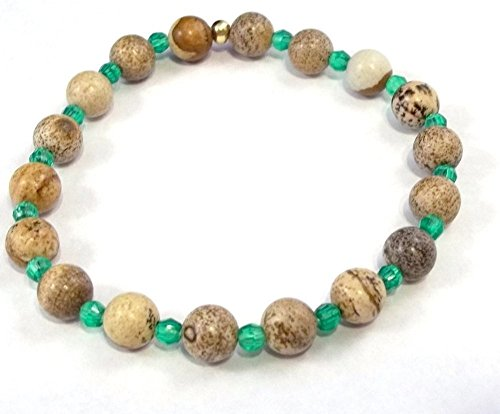 7 Inch Picture Jasper Gemstone with Green Stretch Bracelet -