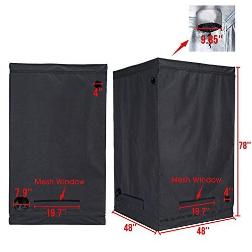 "41t9eTo0JtL - iPyarmid 48""x48""x78"" Indoor Grow Tent Room Reflective 600D Mylar Hydroponic Non Toxic Hut"