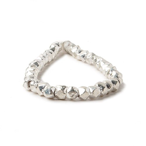 3mm Sterling Silver Faceted Nugget Beads 38 Beads 4 inch ()