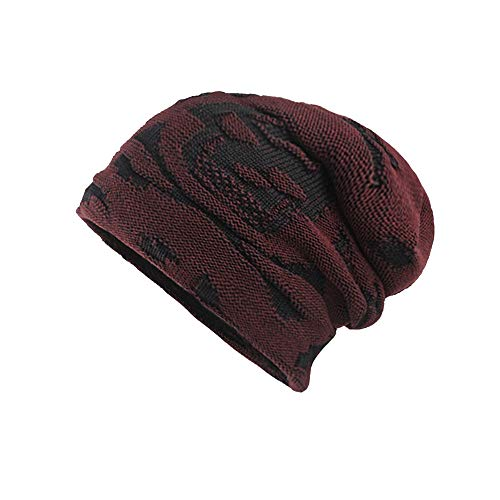 Clearance WUAI Unisex Winter Knit Hat Thicken Warm Knit Beanie Slouchy Caps Skull Hat(Red,Free Size) ()