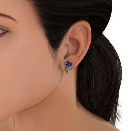 14K Or jaune 0,13CT TW White-diamond (IJ | SI) et iolite & Émeraude Boucles d'oreilles créoles