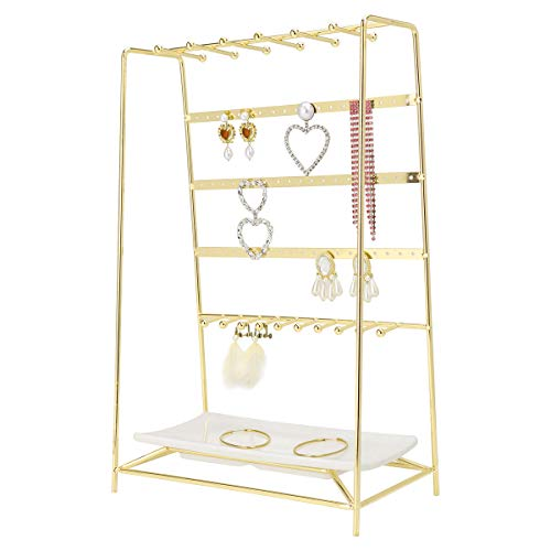 MORIGEM Jewelry Organizer, 5 Tier Jewelry Stand, Decorative Jewelry Holder Display with White Tray for Necklaces, Bracelets, Earrings & Rings, Gold