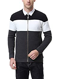 Men's Cardigan Knitted Sweater Latticed Stripe Slim Fit Black White