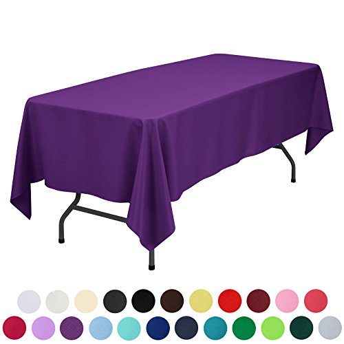 VEEYOO 60 x 102 inch Rectangular Solid Polyester Tablecloth for Wedding Restaurant Party , Purple