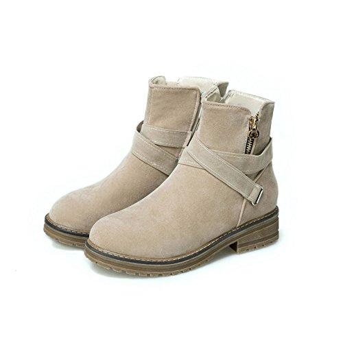 BalaMasa Womens Comfort Platform Buckle Casual Suede Boots ABL10010 Beige 6ye3i