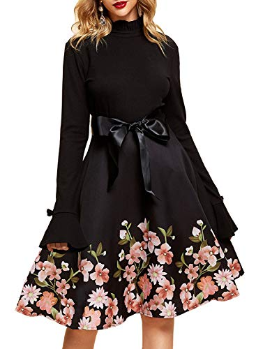YIXUAN Women Long Sleeve Sweater Turtleneck Cocktail Swing Party Dress (Small, Black 2)