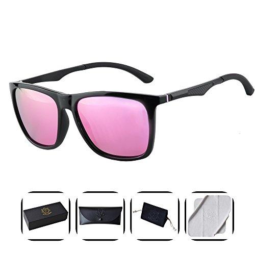 Heptagram Unisex Wafarer Mg-Al Hot Retro Ultra Light Sunglasses for Driving Fishing Golf Outdoor (Black / - Hot Pink Mirrored Sunglasses