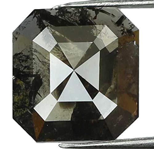 Natural Loose Diamond Radiant Black Grey Color I3 Clarity 7.10 MM 1.08 Ct L7439