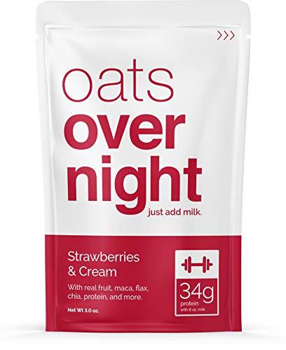 Oats Overnight - Strawberries & Cream - Premium High-Protein, Low-Sugar, Gluten-Free (3oz per pack) (12 Pack)