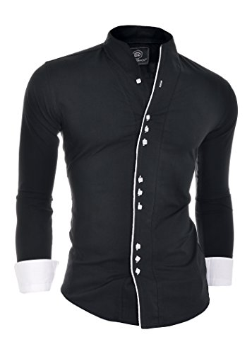 (D&R Fashion Mens Shirt with Double Cuffs Band Grandad Collar and Contrast Piping)