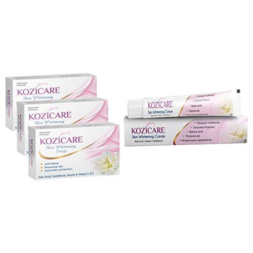 Kozicare Skin Whitening Kit 3 Soap + 1 Cream (for Whiter & Brighter Skin)