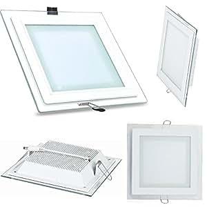 Futur Print Foco LED cuadrado de empotrar con cuerpo de aluminio blanco y borde exterior de cristal transparente de 18W = 150W - Foco disponible en luz Blanco Frío 6500K y blanco cálido 3200K de 1550lm, larga duración, led de última generación, ultraluminoso y eficiente con led driver