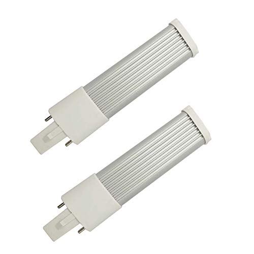 Cold White, 7inch//180mm 7W 2pcs E-Simpo G23 7W LED Bulb PLS-13W Replacement G23d 2P LED PL Retrofit Horizontal Recessed Down Light Plug Play for INDUCTANCE//Magnetic Ballast