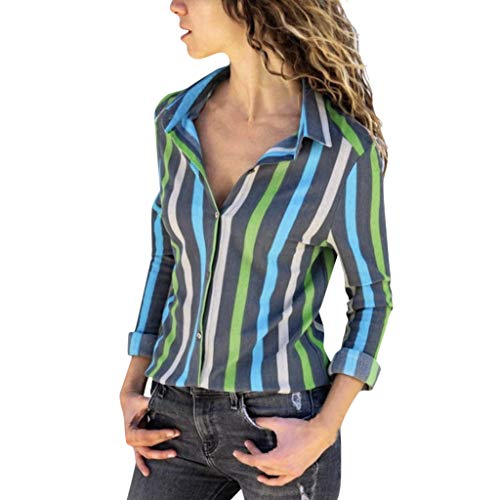 (〓COOlCCI〓Women's V Neck Stripes Roll up Sleeve Button Down Blouses Tops Casual Work Blouses Long Sleeve Shirt T-Shirts Green)