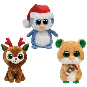 TY Beanie Boos - Renne de Noël Lot de 3 (Comet, Fairbanks Pingouin &