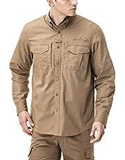 CQR Mens PFG Shirt, UPF 50+ Breathable Ripstop Fishing Shirts, Outdoor Recreation Button Down Long Sleeve Shirt