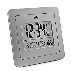 Marathon CL030049GG Digital Wall Clock with 4.5 Inch Large Display, Moon Phase, Date and Indoor Temperature, Jumbo Timer Function - Batteries Included. (Graphite Grey)