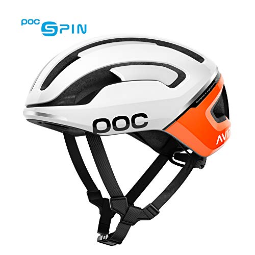 POC - Omne Air Spin Bike Helmet for Commuters and Road Cycling, Lightweight, Breathable and Adjustable, Zink Orange AVIP, Large