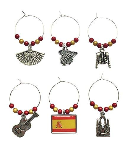 Libbys Market Place Spanish//Spain Wine Glass Charms with Gift Box Handmade