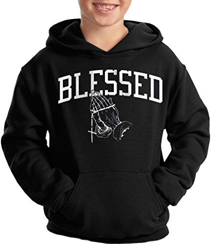 Boys Hoodie Hooded Sweatshirt Kids Blessed Praying Hands Cross Christian Cross Kids Sweatshirt