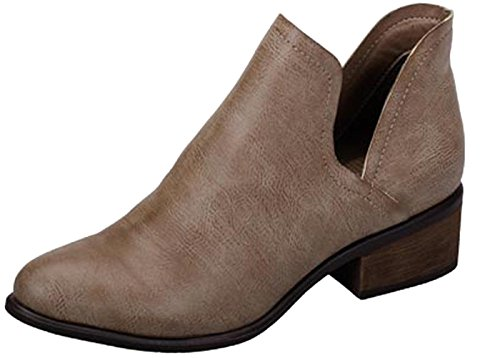 Breckelles Women Dallas-31 PU Pointy Toe Split Side Stacked Heel Beige Bootie (7)
