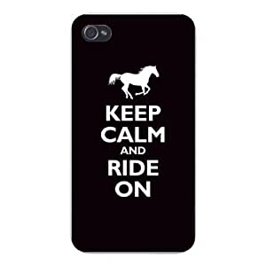 """Apple Iphone Custom Case 5 5s Snap on - """"Keep Calm and Ride On"""