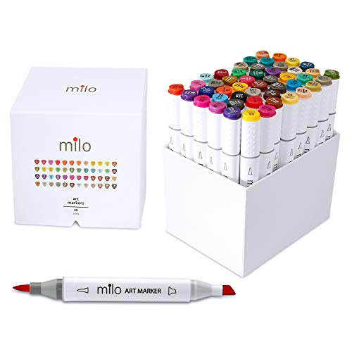 MILO 48 Art Marker Set Dual Tip Artist Markers | Brush Tip and Chisel Tip | Alcohol Based Coloring Markers | Includes Marker Storage Box