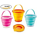 """ToyZe® Foldable 10"""" Pail Buckets Silicone Collapsible Buckets Multi Purpose 5 Liter, 1.5 Gallons (Pack of 3)"""