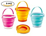 "Top Race Foldable 10"" Pail Buckets Silicone Collapsible Buckets Multi Purpose 5 Liter, 1.5 Gallons (Pack of 3)"