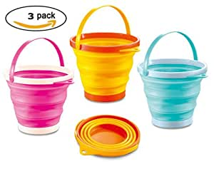ToyZe® Foldable Pail Bucket Silicone Collapsible Bucket Multi Purpose 2 Liter, Half Gallon (Pack of 3)