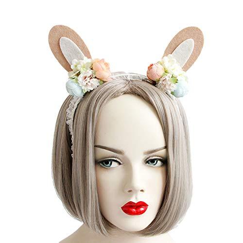 Rose Noir Women Girls Black Gothic Rose Lace Headband Spiderweb Reindeer Witch Hair Accessories Halloween Christmas Party (Flower bunny)]()