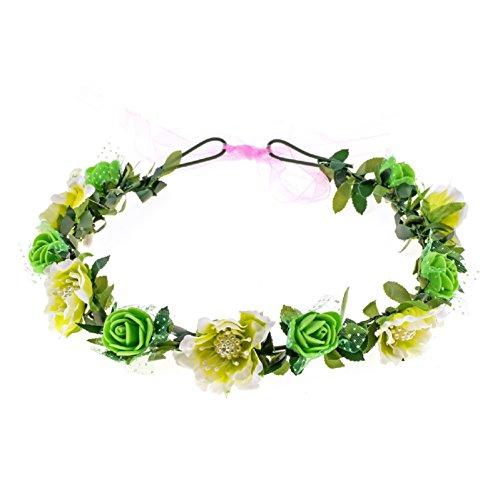 Love Sweety Girls Boho Rose Floral Crown Wreath Wedding Flower Headband Headpiece (Green)]()