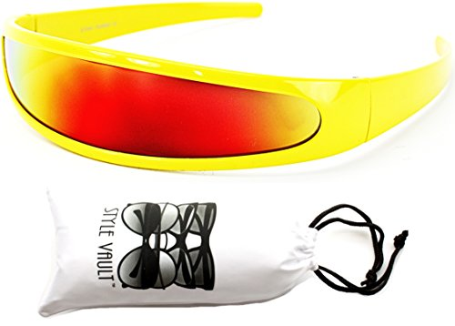 [V160-vp Style Vault Robot Space Party Sunglasses (RV Yellow-Red Mirror, mirrored)] (Cyclops Glasses)