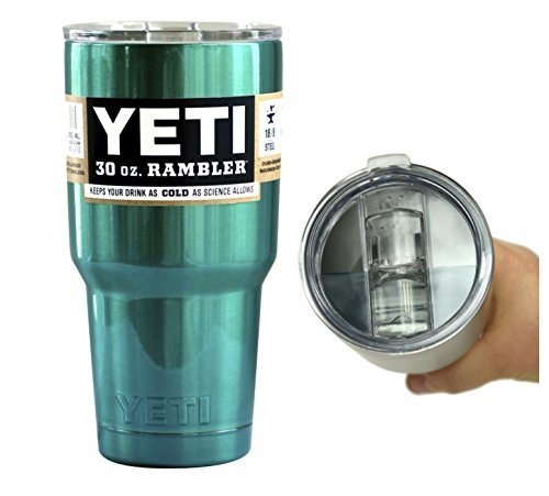 YETI Coolers Custom 30 Ounce (30oz) (30 oz) Rambler Tumbler Cup Mug with Exclusive Spill Resistant Lid (Teal Green)