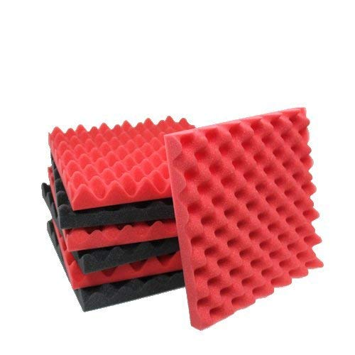 6 Pack Orange/Charcoal egg crate foam acoustic foam tiles soundproofing foam panels sound insulation soundproof foam padding sound dampening Studio sound proof padding 1.5
