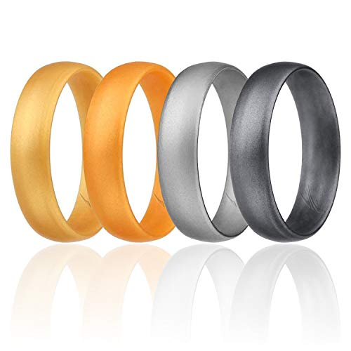 (ROQ Silicone Wedding Ring for Men Set of 4 Affordable Comfort Fit 6mm Love Metallic Silicone Rubber Wedding Bands - Light Gold, Copper Gold, Silver, Beveled Metallic Platinum - Size)