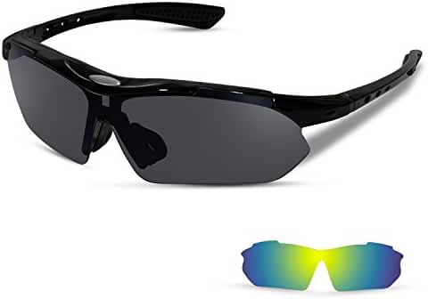 Polarized Sports Sunglasses with 2 Interchangeable Lenses for Running Cycling Driving