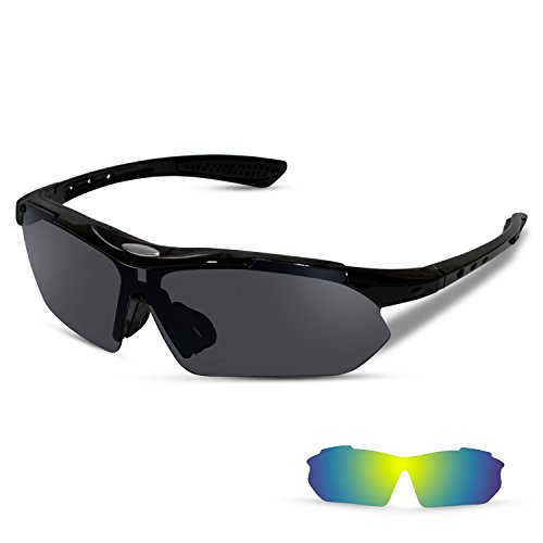 Sports Sunglasses with 2 Interchangeable Lenses for Running Cycling Driving