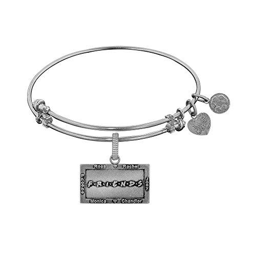 Angelica Collection White Brass Friends Logo Ross, Rachel, Monica, Chandler, Pheobe, Joey Bangle Bracelet -  1